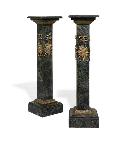 Pair of Continental Ormolu Mounted Green Pedestals - Old Europe Antique Home Furnishings