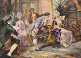 Spain Louis XV Style Painted Tapestry, early 1900s ( 1921) - Old Europe Antique Home Furnishings