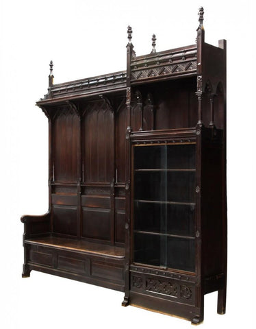 Spanish Gothic Style Carved Hall Bench With Cabinet 19th Century ( 1800s!! - Old Europe Antique Home Furnishings