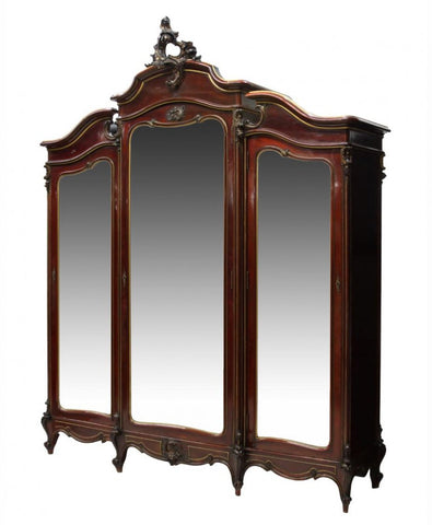 Monumental Spanish Louis XV Style Mirrored Armoire 1800s (19th century)