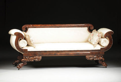 American Classical Period Carved Mahogany Upholstered Settee, c 1825