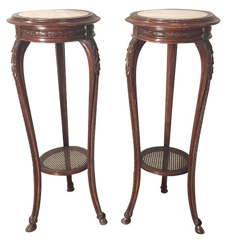 Pair Of French Carved Oak Pedestals 19th / 20th Century