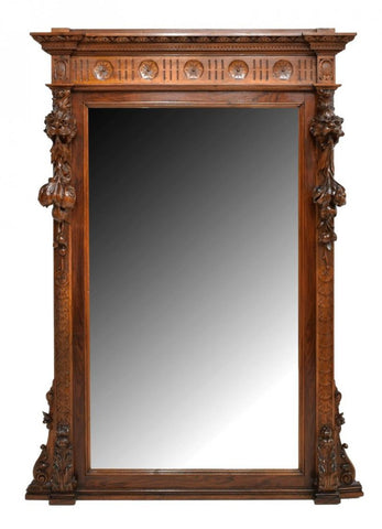 Italian Figural Carved Walnut Mirror, 19th C. ( 1800s )