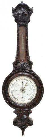 ANTIQUE FRENCH BLACK FOREST STYLE CARVED BAROMETER