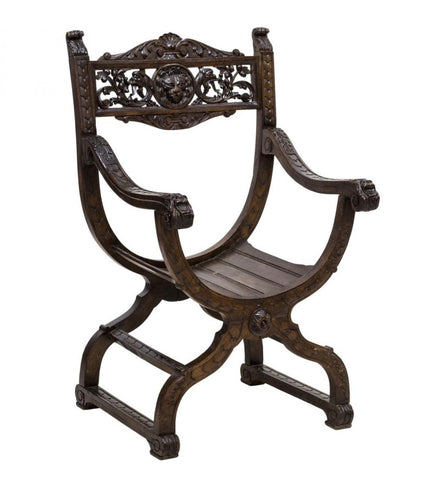 Antique Chair, Curule, Savonarola, Italian Renaissance Reival Carved, 19th C ., 1800s, Charming!! - Old Europe Antique Home Furnishings