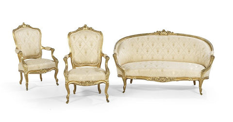 Charming Three-Piece Louis XV-Style Giltwood Parlor Suite early 1900s!! - Old Europe Antique Home Furnishings