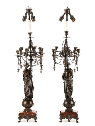 Pair, Antique French Neoclassical Bronze Candelabrum Lamps