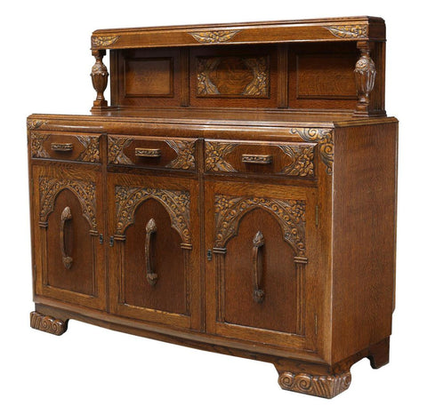 English Oak Buffet Back Sideboard, c. 1930