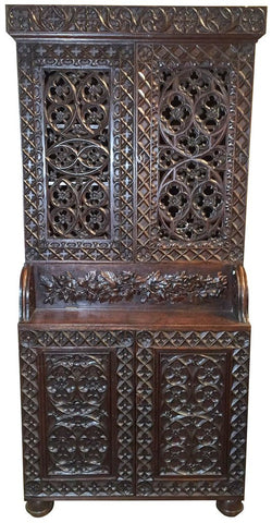 Heavily Carved Oak Gothic Revival Book Case 19th century (1800s )