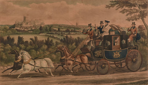 "Antique Engraving, Charles Hunt, ""The Birth Day Team"",  Hand Colored, (1800s)!! - Old Europe Antique Home Furnishings"