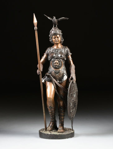 A Large Bronze Female Athenian Warror Statue