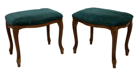 Antique Stools, Foot, Green  Upholstered, Louis XV Style, Charming Pair!! - Old Europe Antique Home Furnishings