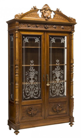 ITALIAN RENAISSANCE REVIVAL CARVED GLAZED BOOKCASE 19th Century ( 1800s )