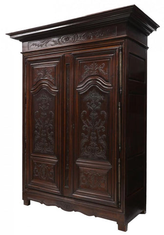 Handsome Large Carved French Mahogany Armoire 18th Century ( 1700s )