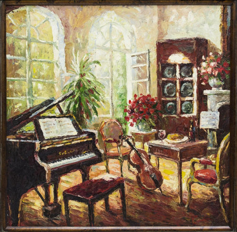 FRAMED-OIL-ON-CANVAS-PAINTING-THE-MUSIC-ROOM