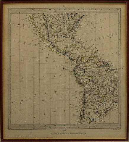 Antique Map, North and South America, Circa 1840, Neat Collector's Items!! - Old Europe Antique Home Furnishings