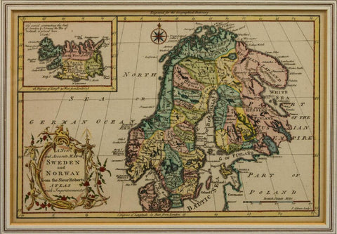 Antique Map, Sweden and Norway, 18th C. ( 1700s ) 1765, Collector's Item, Rare! - Old Europe Antique Home Furnishings