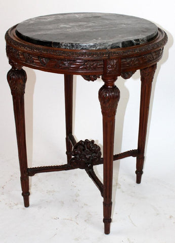 French Louis XVI style gueridon with marble, early 1900s