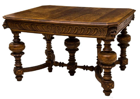 FRENCH HENRI II CARVED OAK DINING TABLE 19TH Century ( 1800s )