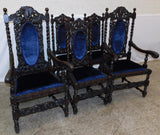 Set of 6 French carved oak barley twist dining chairs 19th Century ( 1800s )