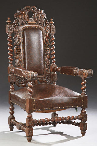 French Louis XIII Style Carved Oak Upholstered Armchair, 19th Century ( 1800s ) - Old Europe Antique Home Furnishings