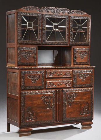 French Carved Oak Buffet a deaux corps, early 1900s