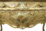 VENETIAN ITALIAN MARBLE TOP MIRRORED BOMBE COMMODE, ANTIQUE