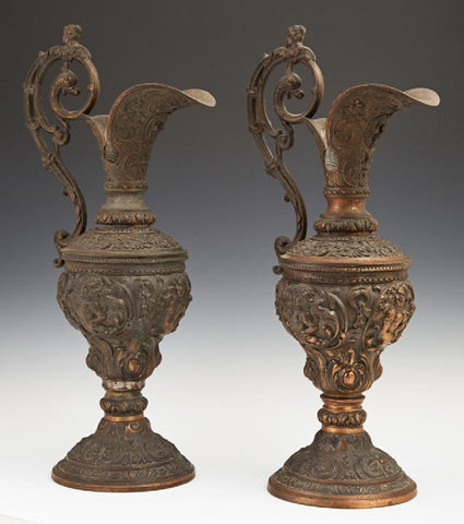 Beautiful Pair of Copper Patinated Spelter Baluster Ewers, 19th Century 1800's!! - Old Europe Antique Home Furnishings