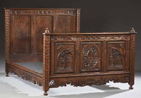 French Breton Carved Oak Bed, 19th c., 1800s