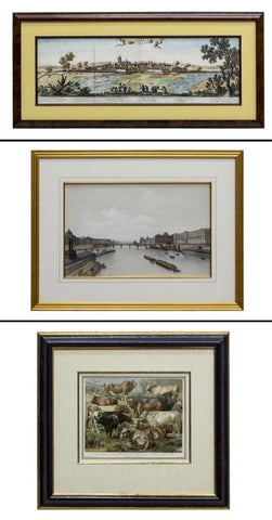 (3) FRAMED PRINTS, CATTLE, LOUVRE, & MAP OF FRANCE, 19th century ( 1800s )