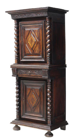 Charming French Carved Cabinet with Twist  Columns & Foliate Carved, 18th Century ( 1700s )