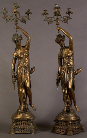Pair of Large Bronze Five Light Figural Candelabra, - Old Europe Antique Home Furnishings