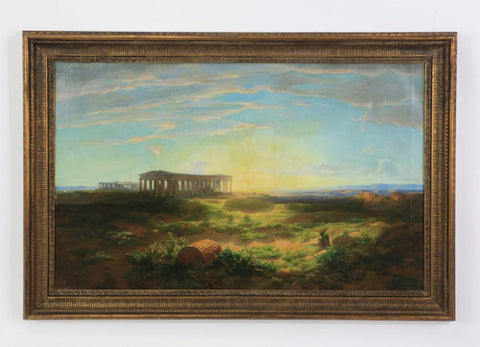 "Painting, Antique,19th Century Oil on Canvas 'View of Paestum at Sunset', 55""w ( 1800s ) - Old Europe Antique Home Furnishings"