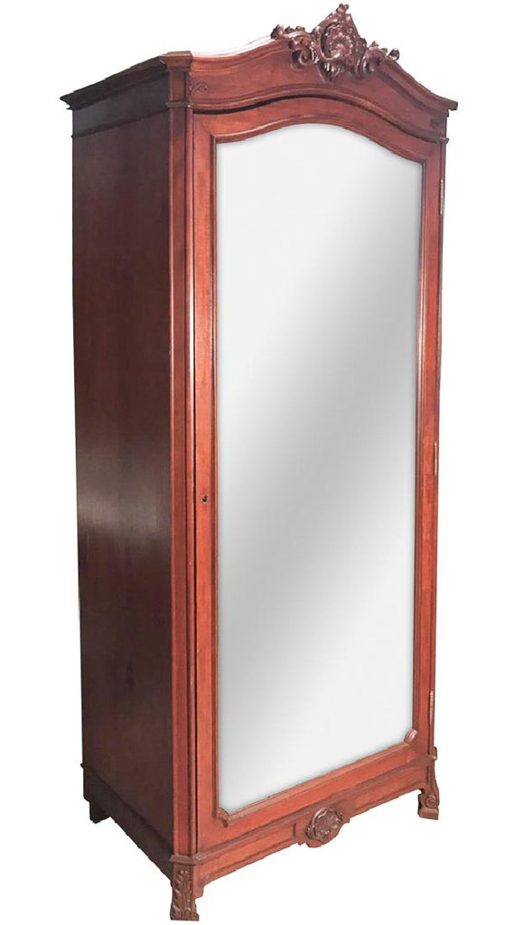 A French Transitional Mahogany One Door Armoire 19th Century ( 1800s )