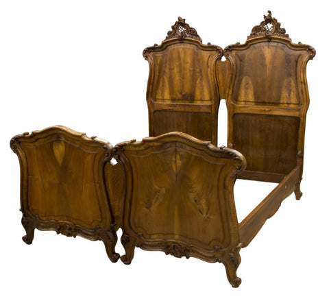 ITALIAN LOUIS XV STYLE BEDROOM SET DOUBLE BED OR SINGLE BEDS, late 19th Century