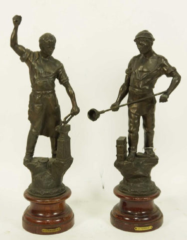 PAIR of 19th CENTURY ( 1800s ) PATINATED SPELTER BLACKSMITHS - Old Europe Antique Home Furnishings
