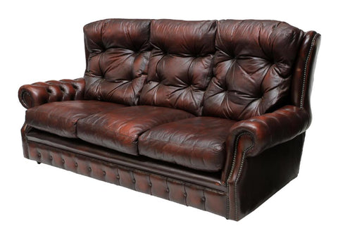 CHESTERFIELD OXBLOOD RED LEATHER TUFTED SOFA