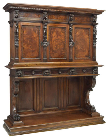 Antique Sideboard, Continental Style, Baroque Figural Carved, 19th Century ( 1800s ), Very Handsome!! - Old Europe Antique Home Furnishings