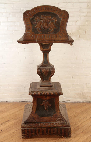 EARLY 19TH CENTURY WALNUT AND GILT 2 SIDED EASEL or LECTERN 1800s