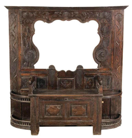 Gorgeous Provincial Carved Oak Hall Stand, 18th Century ( 1700s )!!! - Old Europe Antique Home Furnishings
