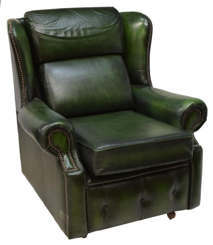 ENGLISH GREEN LEATHER BUTTON BACK WINGBACK CHAIR