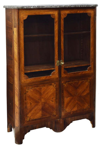 STUNNING FRENCH LOUIS XV ROSEWOOD MARBLE VITRINE, 19TH Century ( 1800s )