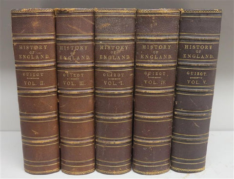 Antique Books, History Guizont, England, 5 Volumes, 1876, 19th Century ( 1800s ), NIce Collection!! - Old Europe Antique Home Furnishings