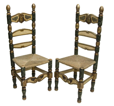 CHARMING PAIR OF SPANISH PARCEL GILT PAINTED SIDE CHAIRS!!!