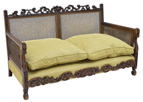 CHARMING NORTHERN SPAIN UPHOLSTERED CANE BENCH/ SOFA, antique