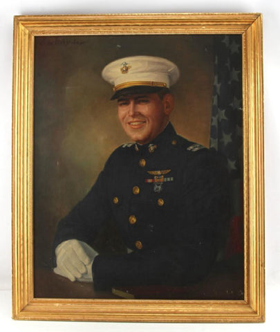 OIL ON CANVAS PAINTING OF A US MARINE CAPTAIN - Old Europe Antique Home Furnishings