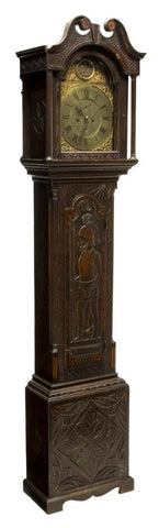 GEORGIAN CARVED OAK GRANDFATHER CLOCK, C. 1780, 18th century ( 1700s ) - Old Europe Antique Home Furnishings