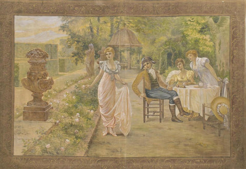 PAINTED WALL TAPESTRY, BREAKFAST IN THE GARDEN, early 1900s - Old Europe Antique Home Furnishings