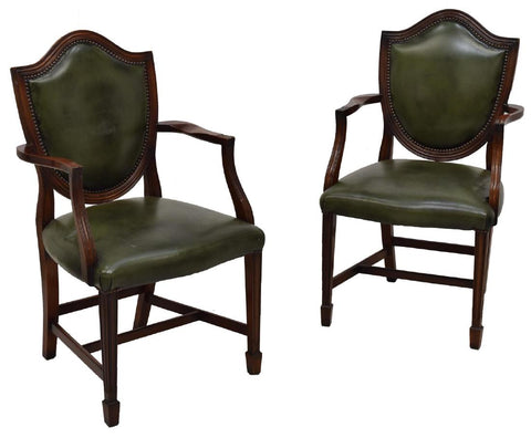 CHARMING PAIR OF  ENGLISH SHERATON STYLE LEATHER ARMCHAIRS, early 1900s!!! - Old Europe Antique Home Furnishings