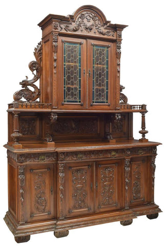 STAINED GLASS ITALIAN RENAISSANCE REVIVAL CARVED SIDEBOARD, 19th century ( 1800s